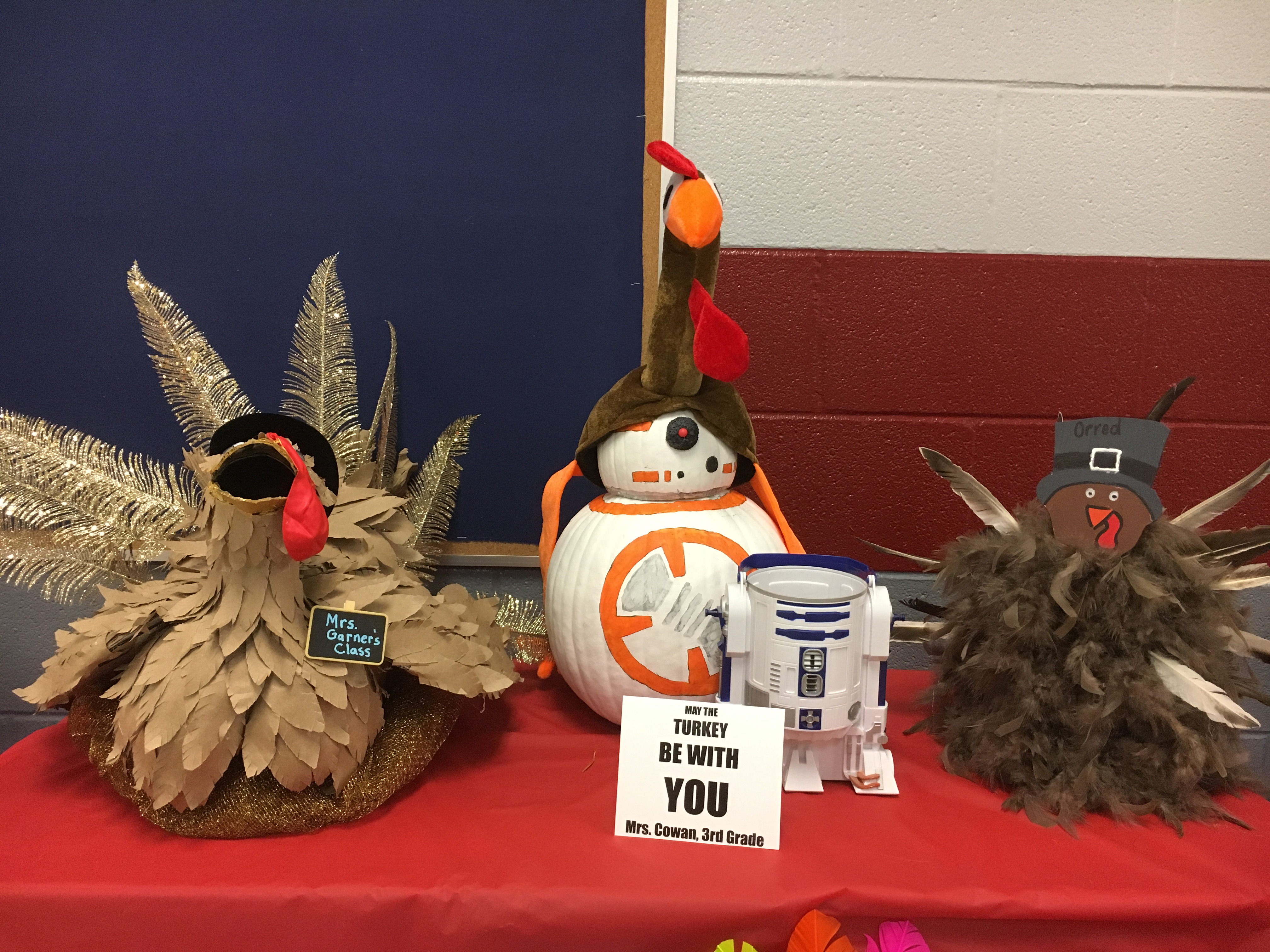 Turkeys decorated with feathers and Star Wars characters