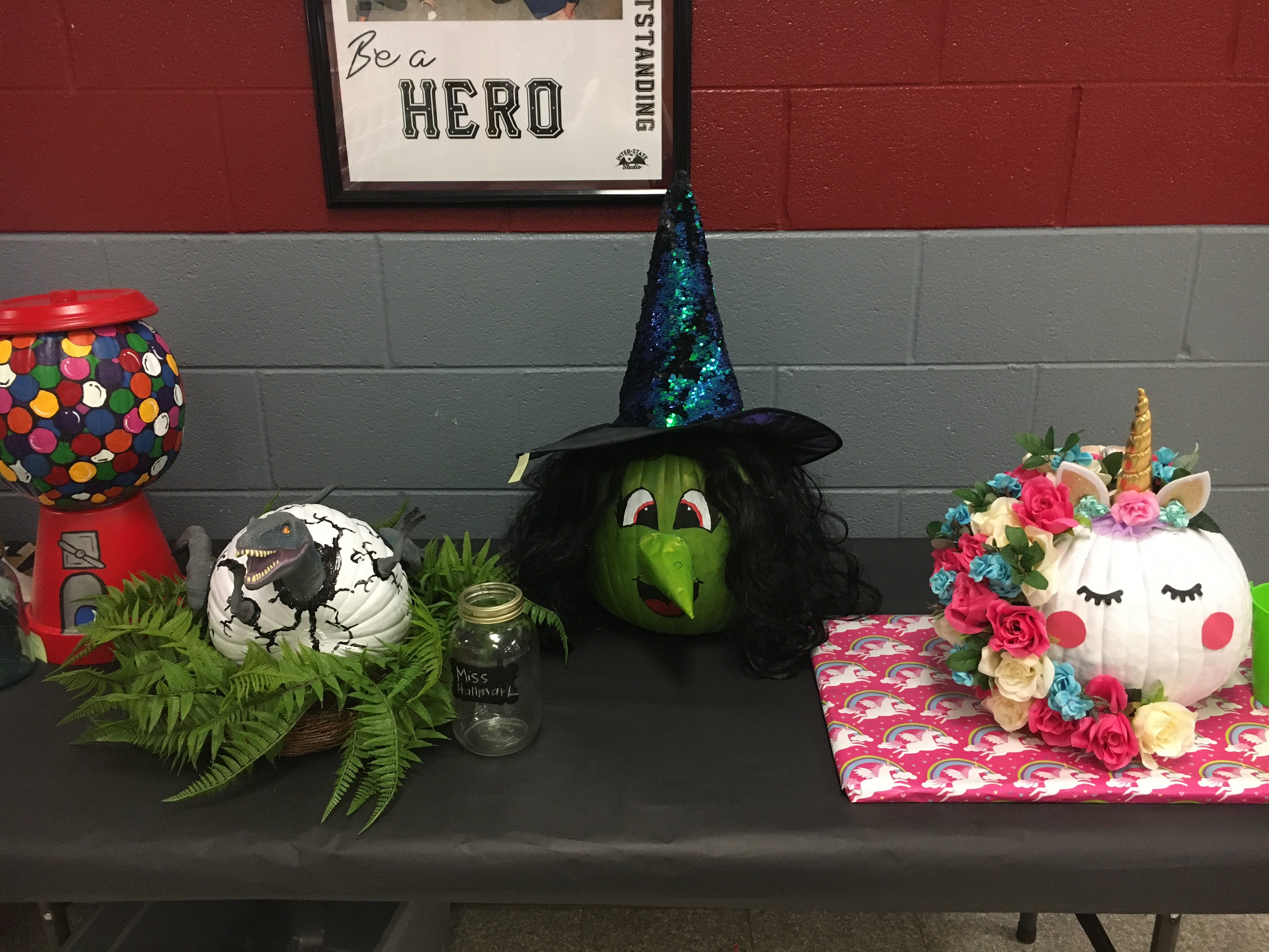 Decorated pumpkins on a table